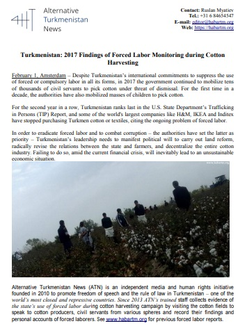 Turkmenistan: 2017 Findings of Forced Labor Monitoring during Cotton Harvesting